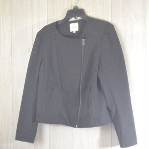 Catherine Malandrino Dark Grey Moto Jacket Sz XL